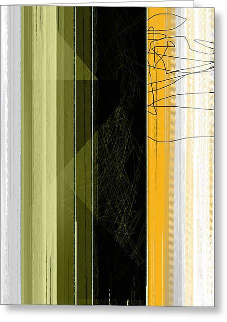 Geometric Design Greeting Cards - Yellow Rain Greeting Card by Naxart Studio