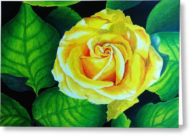 Closeups Drawings Greeting Cards - Yellow Greeting Card by Ramneek Narang