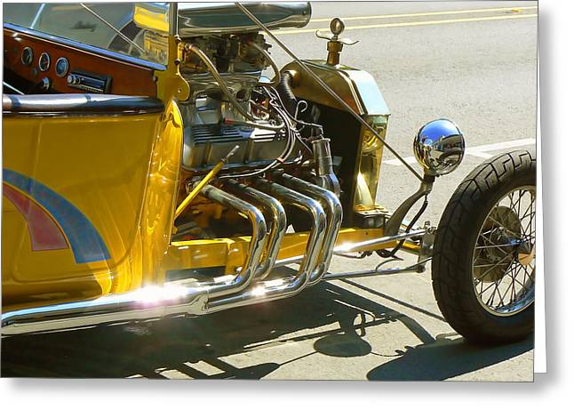 Hot Pink Custom Greeting Cards - Yellow Rat Rod Greeting Card by Pamela Patch
