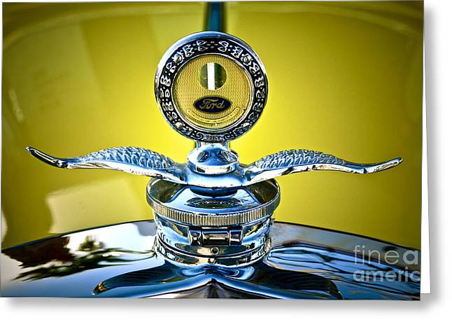 Classic Ford Roadster Greeting Cards - Yellow Roadster Greeting Card by Gwyn Newcombe