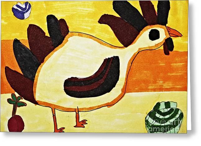 Crimson Drawings Greeting Cards - Yellow Rooster Still Greeting Card by Stephanie Ward