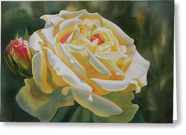 Orange Rose Greeting Cards - Yellow Rose with Bud Greeting Card by Sharon Freeman