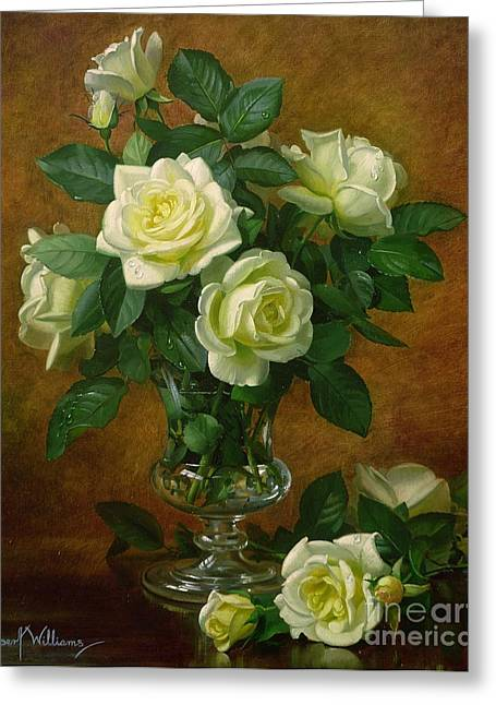 In Bloom Greeting Cards - Yellow Roses Greeting Card by Albert Williams