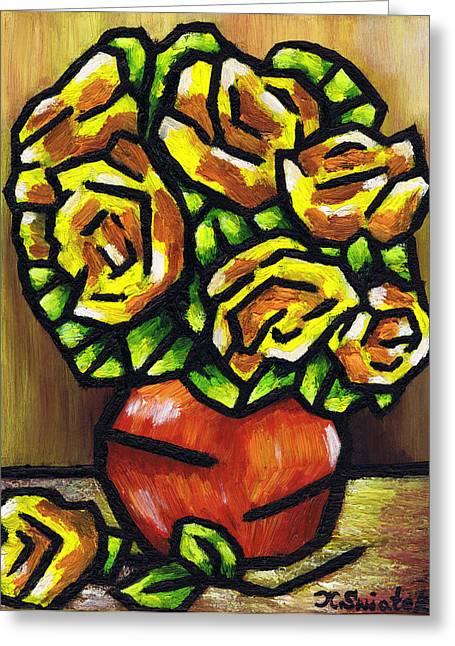 Polish Artists Greeting Cards - Yellow Roses Greeting Card by Kamil Swiatek