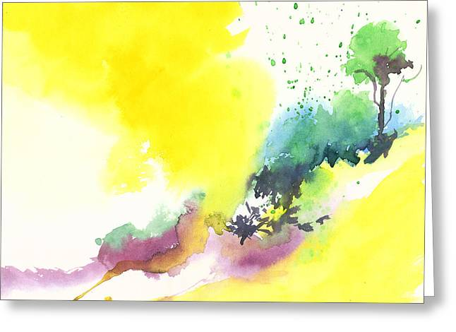 Blue Begonias Greeting Cards - Yellow sky 2 Greeting Card by Anil Nene