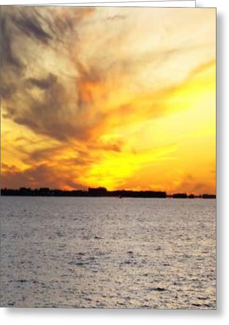 Sunset Prints Greeting Cards - Yellow smoke II Greeting Card by Florene Welebny