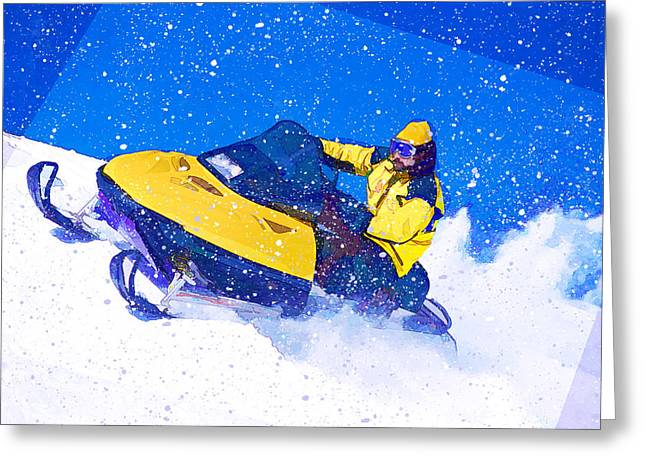 Yellow Snowmobile In Blizzard Greeting Card by Elaine Plesser