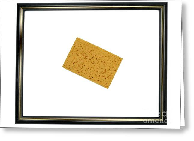 Routine Greeting Cards - Yellow sponge inside picture frame Greeting Card by Sami Sarkis