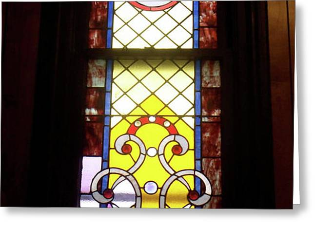 Yellow Stained Glass Window Greeting Card by Thomas Woolworth