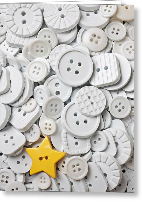 Disk Greeting Cards - Yellow star button  Greeting Card by Garry Gay