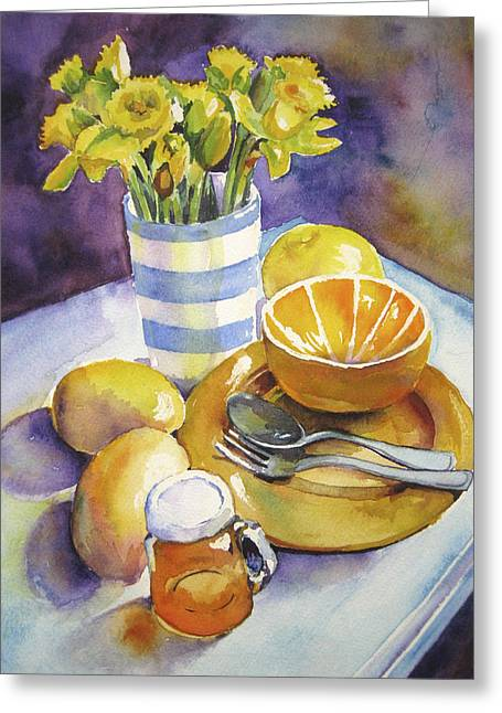 Yellow Still Life Greeting Card by Susan Herbst