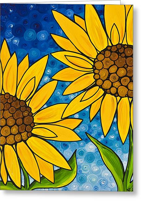 Yellow Sunflower Greeting Cards - Yellow Sunflowers Greeting Card by Sharon Cummings