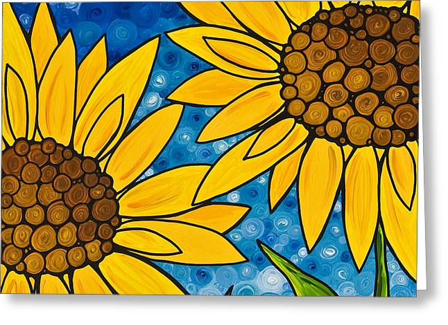 Yellow Sunflowers Greeting Card by Sharon Cummings