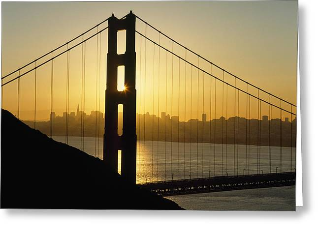 San Francisco Cali Greeting Cards - Yellow Sunrise Behind The Golden Gate Greeting Card by Axiom Photographic