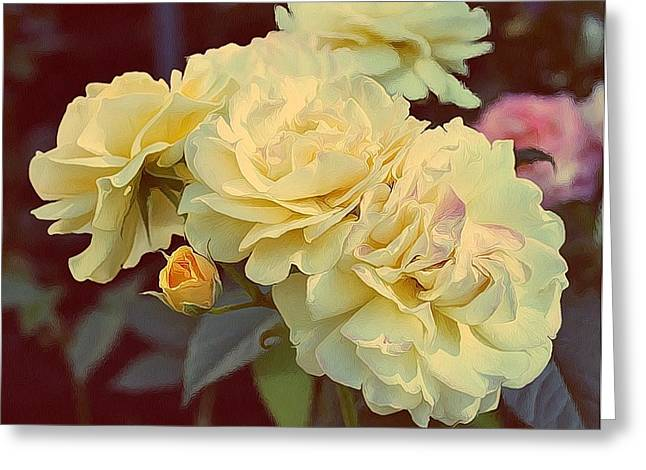 Cream Rose Greeting Cards - Yellow Sunshine Greeting Card by Cathie Tyler