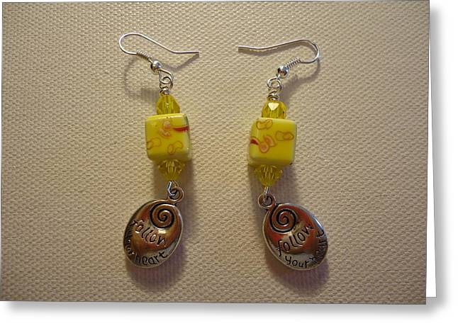 Jenna Jewelry Greeting Cards - Yellow Swirl Follow Your Heart Earrings Greeting Card by Jenna Green