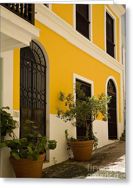 Caribbean Architecture Greeting Cards - Yellow Greeting Card by Timothy Johnson