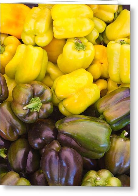 Yellow Pepper Greeting Cards - Yellow to Purple Peppers Greeting Card by Douglas Barnett