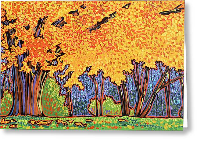 Nadi Spencer Paintings Greeting Cards - Yellow Tree Greeting Card by Nadi Spencer