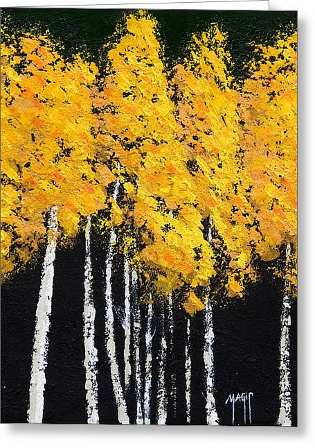 Abstract Digital Paintings Greeting Cards - Yellow Trees Greeting Card by Mauro Celotti