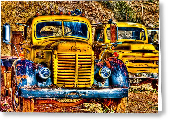 Old Relics Greeting Cards - Yellow Trucks Greeting Card by Jon Berghoff