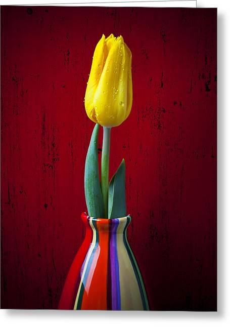 Dew Greeting Cards - Yellow Tulip In Colorfdul Vase Greeting Card by Garry Gay