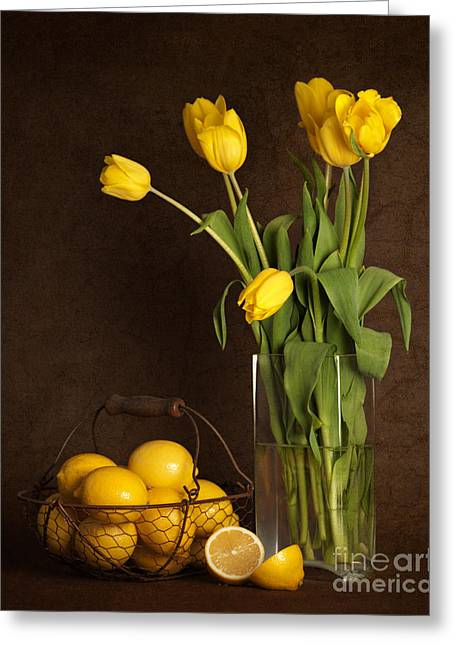 Yellow Tulips And Lemons Greeting Card by Heather Swan