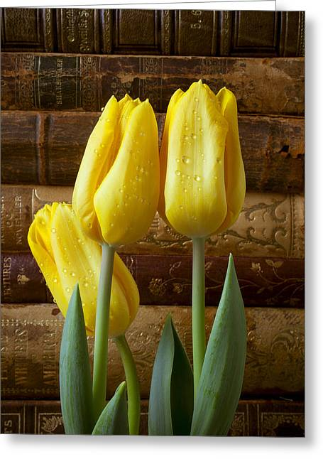 Yellow Leaves Greeting Cards - Yellow tulips and old books Greeting Card by Garry Gay