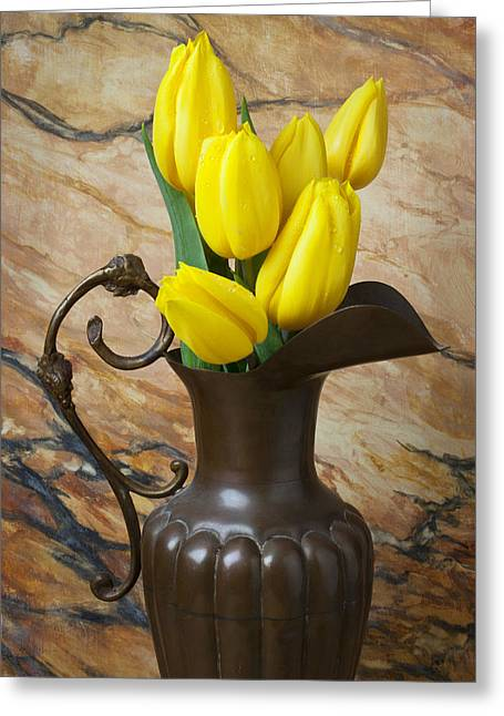 Yellow Leaves Greeting Cards - Yellow tulips in brass vase Greeting Card by Garry Gay