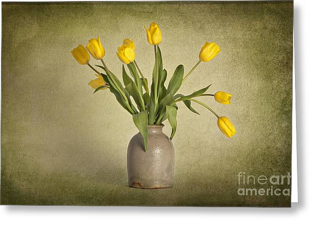 Yellow Flower Pot Greeting Cards - Yellow Tulips in Clay Pot Greeting Card by Heather Swan