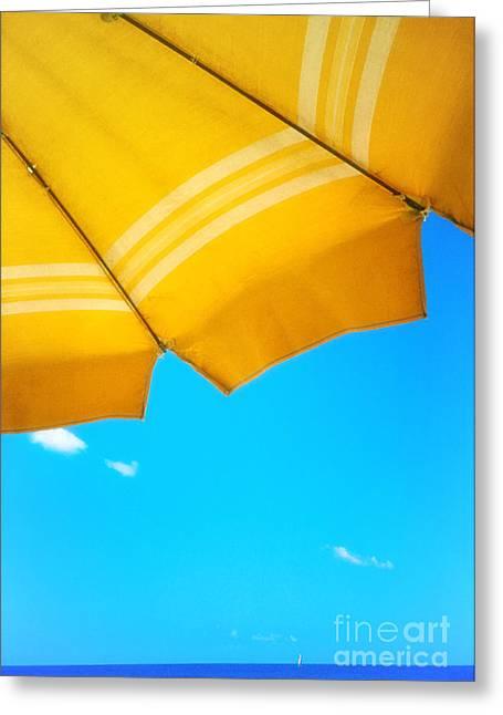 Blue Sailboats Greeting Cards - Yellow umbrella with sea and sailboat Greeting Card by Silvia Ganora