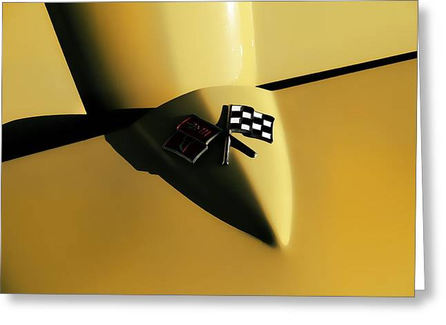 Vintage Hood Ornaments Digital Art Greeting Cards - Yellow Vette Badge Greeting Card by Douglas Pittman