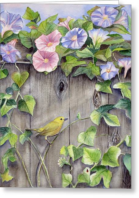 Wood Warbler Greeting Cards - Yellow warbler and morning glory Greeting Card by Patricia Pushaw