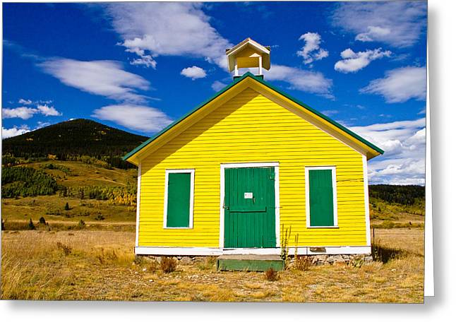 Art Galleries On Line Greeting Cards - Yellow Western School House Greeting Card by James BO  Insogna