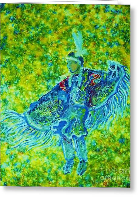 Fancy-dancer Paintings Greeting Cards - Yellowfancy  Greeting Card by Kerdy Mitcho