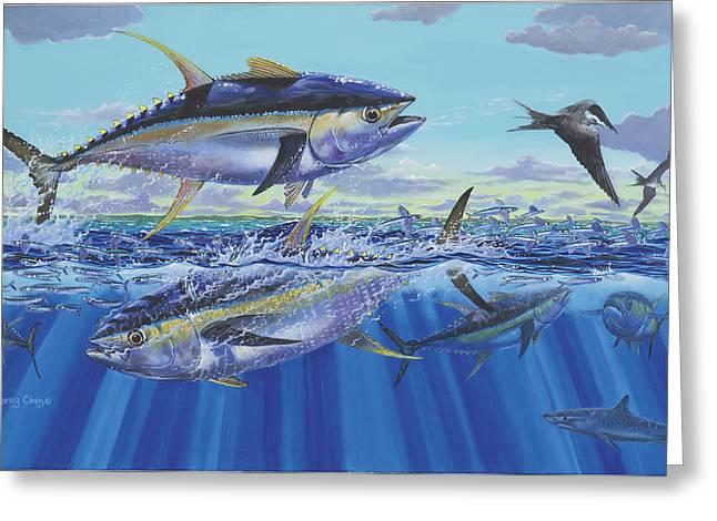 Big Eye Tuna Greeting Cards - Yellowfin Bust Greeting Card by Carey Chen
