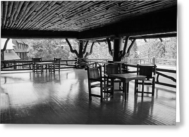 Patio Table And Chairs Digital Art Greeting Cards - Yellowstone - Old Faithful Inn 2 Greeting Card by Steve Ohlsen