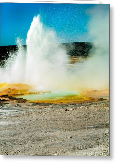 Paint Photograph Greeting Cards - Yellowstone Geysers Greeting Card by Robert Bales