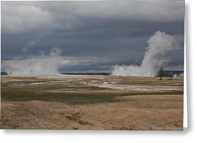 Yellowstone Geysers2 Greeting Card by Charles Warren