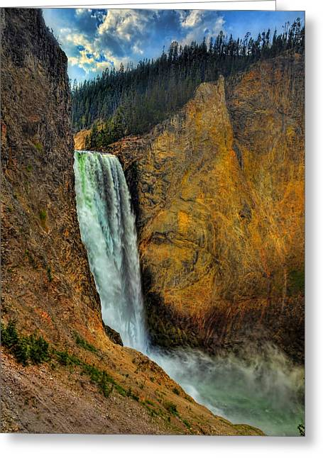 Grand Canyon Of The Yellowstone Greeting Cards - Yellowstone Lower Falls HDR Greeting Card by Ken Smith
