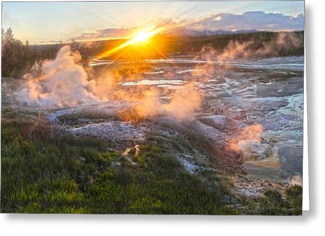 Yellowstone Norris Geyser Basin At Sunset Greeting Card by Gregory Dyer