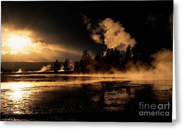 West Yellowstone Greeting Cards - Yellowstone River Sunrise Greeting Card by Sandra Bronstein