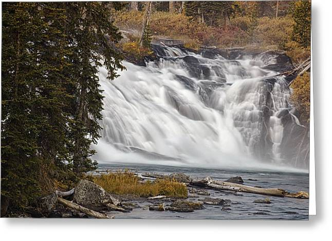 Whitewater Greeting Cards - Yellowstone Waterfall Panorama Greeting Card by Andrew Soundarajan