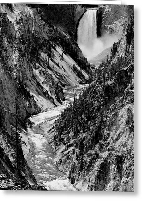 Black And White Waterfall Greeting Cards - Yellowstone Waterfalls in Black and White Greeting Card by Sebastian Musial