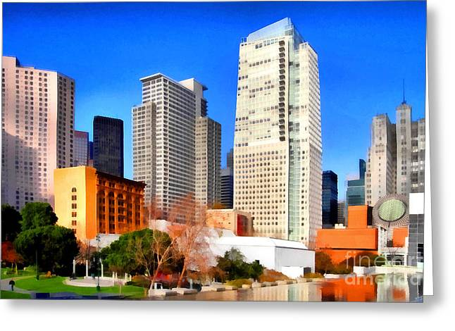 Yerba Buena Greeting Cards - Yerba Buena Garden In San Francisco California . 7D4262 Greeting Card by Wingsdomain Art and Photography