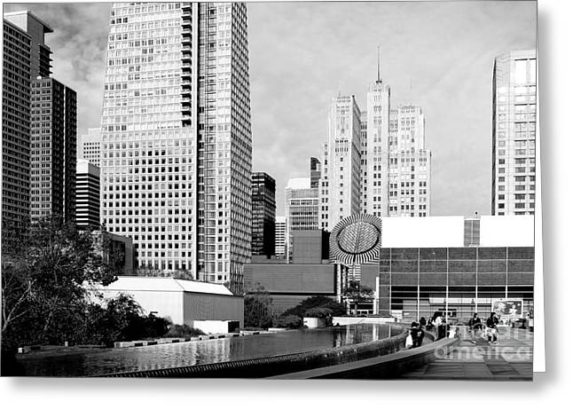 Mario Botta Botta Greeting Cards - Yerba Buena Garden San Francisco . Black and White Photograph 7D3959 Greeting Card by Wingsdomain Art and Photography