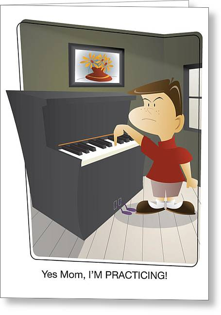 Lessons Greeting Cards - Yes Mom IM PRACTICING Boy Greeting Card by Andrew Fling