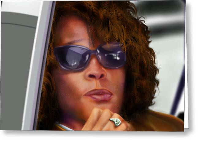 Whitney Houston Greeting Cards - Yes My Name Is Ms Houston Greeting Card by Reggie Duffie