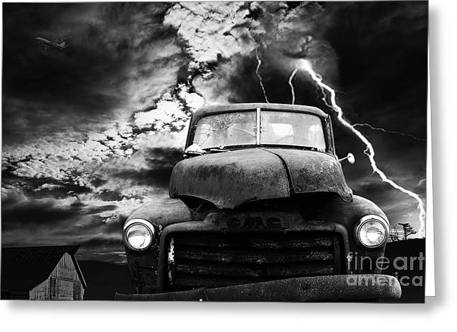 Photography Lightning Digital Art Greeting Cards - Yesterday Came Early . Tomorrow Is Almost Over . bw Greeting Card by Wingsdomain Art and Photography