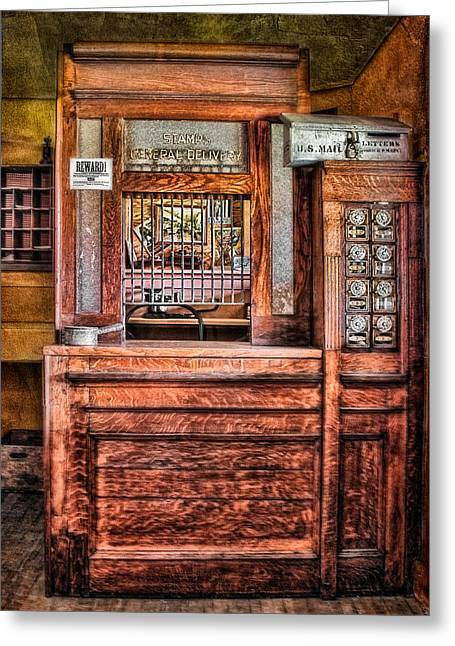 Door Greeting Cards - Yesterdays Post Office Greeting Card by Susan Candelario